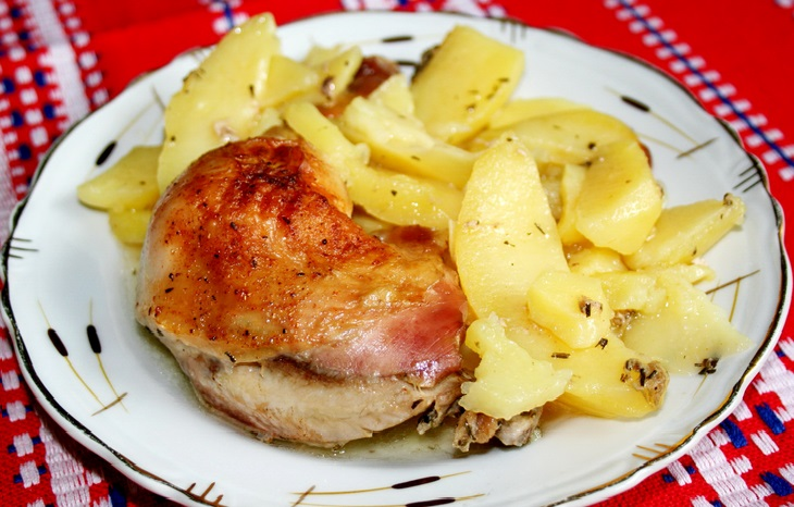 сочная курица в духовке с картошкой рецепт с фото