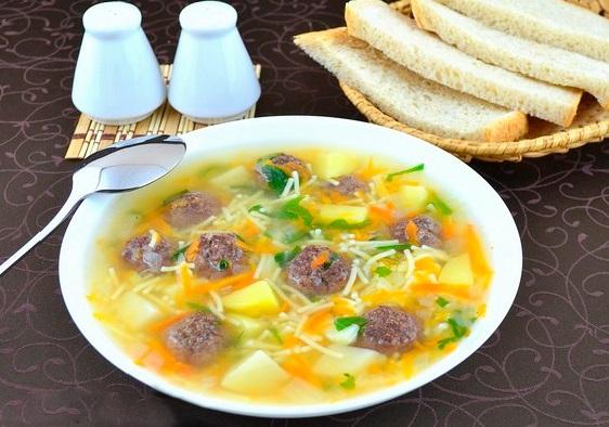Суп с куриными фрикадельками и вермишелью рецепт